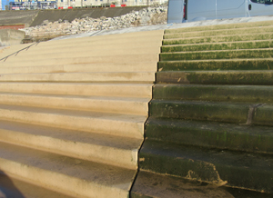 Clear Anti graffiti coating algae control on seaside steps